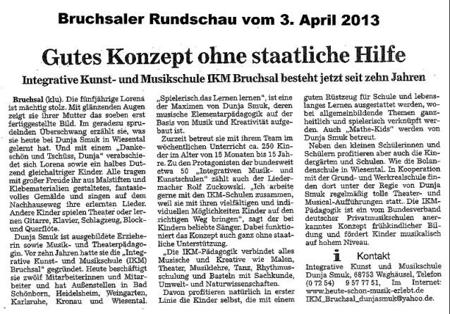 10 Jahre IKM Bruchsal - Zeitungsartikel